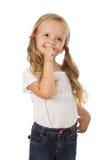 Ik ben zo opgewekt - meisje het glimlachen Royalty-vrije Stock Fotografie