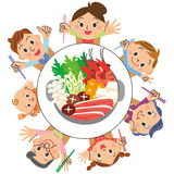 Ik eet een pan in families Stock Foto