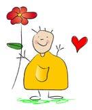 Ik geef u een bloem met liefde Stock Afbeeldingen