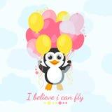Ik geloof ik kan vliegen De leuke pinguïnvliegen met ballons en geloven in zich Royalty-vrije Stock Afbeelding