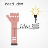 Ik heb Ideeconcept nodig Zakenmanhand en creatieve gloeilamp B Royalty-vrije Stock Foto's