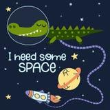 Ik heb wat ruimte nodig - Leuke beeldverhaaldruk met krokodilkarakter in ruimte vector illustratie