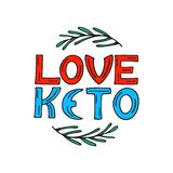 Ik houd keto hand van getrokken krabbelteksten met rozemarijntwijgen Gezond het Eten Concept stock illustratie