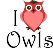 Ik houd uilen van teken Stock Afbeelding