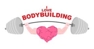 Ik houd van bodybuilding Een symbool van een sterk hart met grote spieren vector illustratie