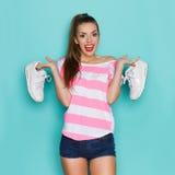 Ik houd van Comfortabele Tennisschoenen Royalty-vrije Stock Foto