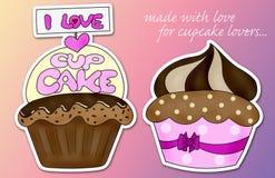 Ik houd van cupcake Stock Afbeeldingen