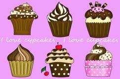 Ik houd van cupcakes Royalty-vrije Stock Afbeeldingen