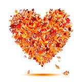 Ik houd van de herfst! De vorm van het hart van dalende bladeren Royalty-vrije Stock Afbeelding