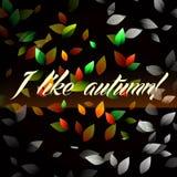 Ik houd van de herfst op een zwarte achtergrond Royalty-vrije Stock Afbeeldingen