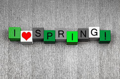 Ik houd van de Lente, tekenreeksen voor vegetatieperiode en tuinlieden stock afbeelding