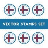 Ik houd van de vector geplaatste zegels van de Faeröer stock illustratie
