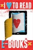 Ik houd van e-boeken te lezen Typografische affiche in grungestijl De computer van de tablet met pagina's Vector illustratie Royalty-vrije Stock Afbeelding
