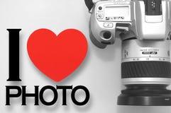 Ik houd van foto met camera Stock Afbeeldingen