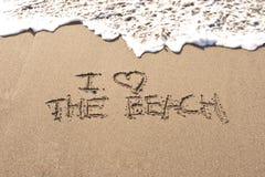Ik houd van het strand Stock Foto's