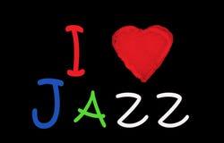 Ik houd van jazz op redthea blackbord Stock Afbeelding