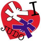 Ik houd van judo. vechtsporten embleem stock illustratie