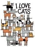 Ik houd van Katten Stock Afbeelding