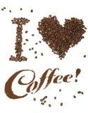 Ik houd van Koffie! Stock Foto