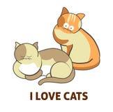 Ik houd van leuke kattenhuisdieren of katjes die of vector vlak pictogram spelen stellen vector illustratie