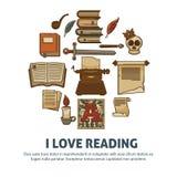 Ik houd van lezend affiche van literatuur uitstekende boeken stock illustratie