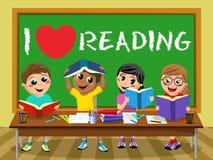 Ik houd van lezend bord het Gelukkige klaslokaal van jonge geitjeskinderen vector illustratie
