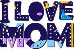 Ik houd van mamma - inschrijving met schaduw Grote gewaagde brieven met verschillende kleuren en patronen Heldere kleur stock illustratie