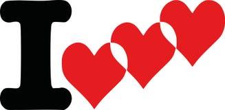 Ik houd van met drievoudige harten stock illustratie