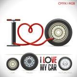 Ik houd van mijn auto Stock Afbeeldingen