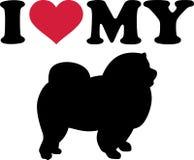 Ik houd van mijn Chow-chowsilhouet Stock Afbeeldingen