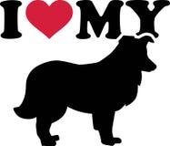 Ik houd van mijn de Herdershondsilhouet van Shetland royalty-vrije illustratie