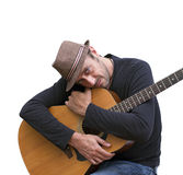 Ik houd van mijn gitaar Stock Afbeeldingen