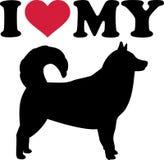 Ik houd van mijn malamutesilhouet Van Alaska Royalty-vrije Stock Foto