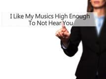 Ik houd van Mijn Muziek Hoog genoeg om u niet te horen - Onderneemster royalty-vrije stock afbeelding