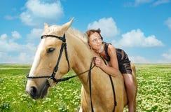 Ik houd van mijn paard Royalty-vrije Stock Foto's