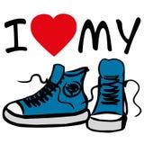 Ik houd van mijn tennisschoenen Stock Afbeelding