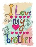 Ik houd van Mijn Typografie van de Broert-shirt, Vector Royalty-vrije Stock Fotografie