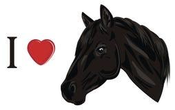 Ik houd van paard vector illustratie