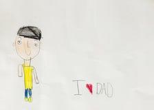 Ik houd van papa - het jonge geitje schrijft kaart Stock Foto
