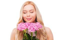 Ik houd van rozen! Royalty-vrije Stock Foto's