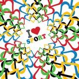 Ik houd van sport en Ornament van in Olympische kleuren Royalty-vrije Stock Afbeeldingen