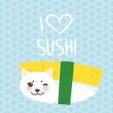Ik houd van sushi De Sushi Zoet Ei van Kawaii grappig Tamago en witte leuke kat met roze wangen en ogen, emoji Baby blauwe achter royalty-vrije illustratie