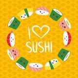 Ik houd van sushi Kawaii grappige die sushi met roze wangen en grote ogen, emoji worden geplaatst Oranje achtergrond met Japans c royalty-vrije illustratie