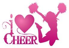Ik houd van Toejuiching met het Springen Cheerleader vector illustratie