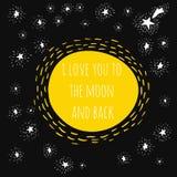 Ik houd van u aan de maan en achterzwarte Stock Afbeelding