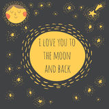 Ik houd van u aan de maan en de rug Royalty-vrije Stock Fotografie