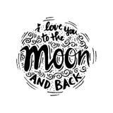 Ik houd van u aan de maan en de rug Stock Fotografie