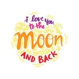Ik houd van u aan de maan en de rug Stock Afbeeldingen