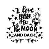 Ik houd van u aan de maan en de rug Royalty-vrije Stock Foto