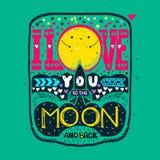 Ik houd van u aan de maan en de rug stock illustratie